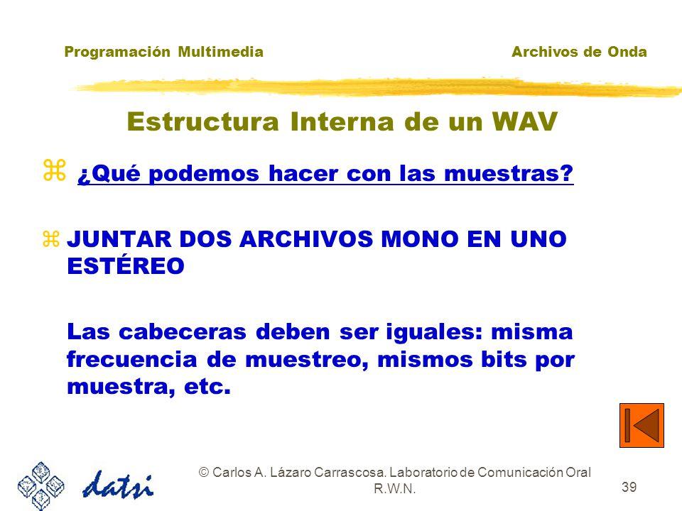 Programación MultimediaArchivos de Onda © Carlos A. Lázaro Carrascosa. Laboratorio de Comunicación Oral R.W.N. 38 ¿Qué podemos hacer con las muestras?