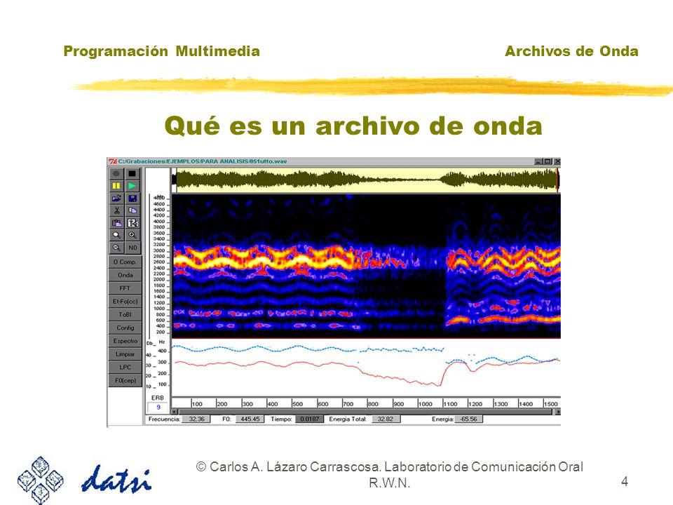 Programación MultimediaArchivos de Onda © Carlos A. Lázaro Carrascosa. Laboratorio de Comunicación Oral R.W.N. 3 zFicheros con extensión.WAV: Estándar