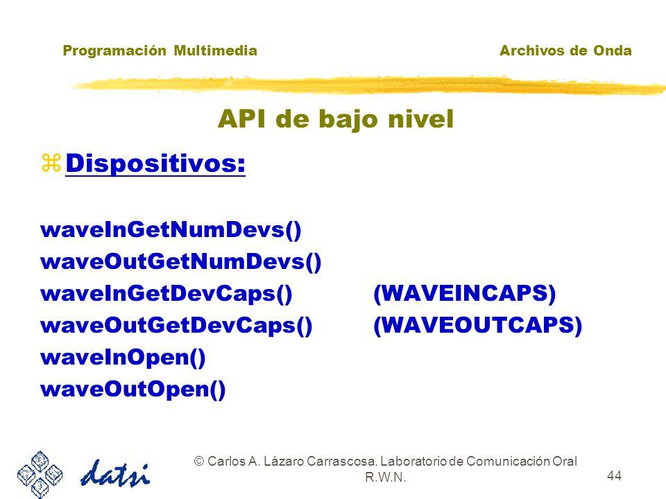 Programación MultimediaArchivos de Onda © Carlos A. Lázaro Carrascosa. Laboratorio de Comunicación Oral R.W.N. 43 API de bajo nivel La función PlaySou