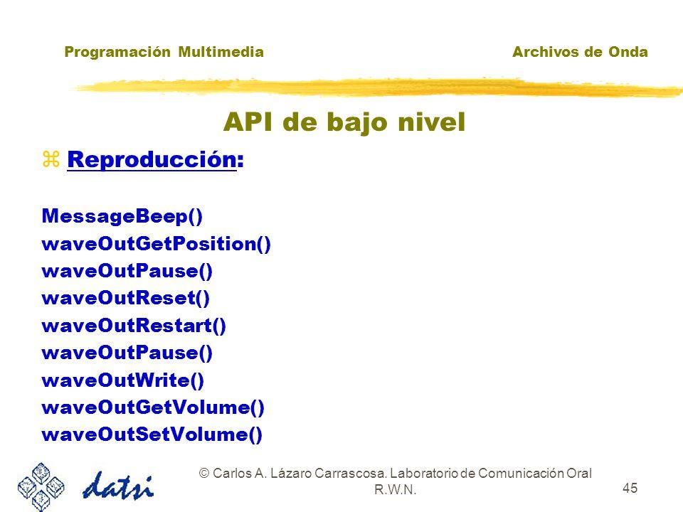 Programación MultimediaArchivos de Onda © Carlos A. Lázaro Carrascosa. Laboratorio de Comunicación Oral R.W.N. 44 zDispositivos: waveInGetNumDevs() wa