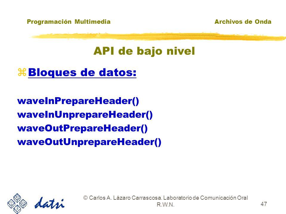 Programación MultimediaArchivos de Onda © Carlos A. Lázaro Carrascosa. Laboratorio de Comunicación Oral R.W.N. 46 API de bajo nivel zGrabación: waveIn