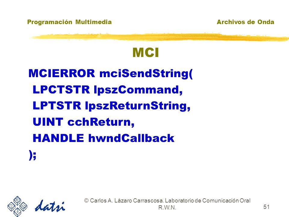 Programación MultimediaArchivos de Onda © Carlos A. Lázaro Carrascosa. Laboratorio de Comunicación Oral R.W.N. 50 MCI MCISENDCOMMAND MCISENDSTRING Nec