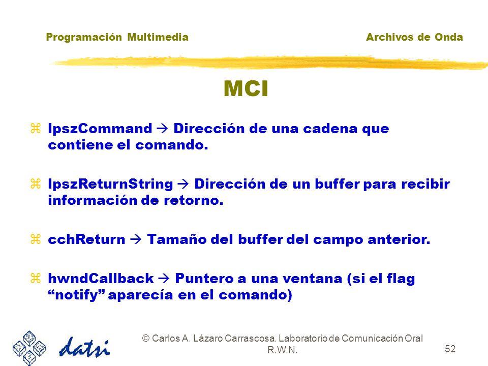 Programación MultimediaArchivos de Onda © Carlos A. Lázaro Carrascosa. Laboratorio de Comunicación Oral R.W.N. 51 MCI MCIERROR mciSendString( LPCTSTR