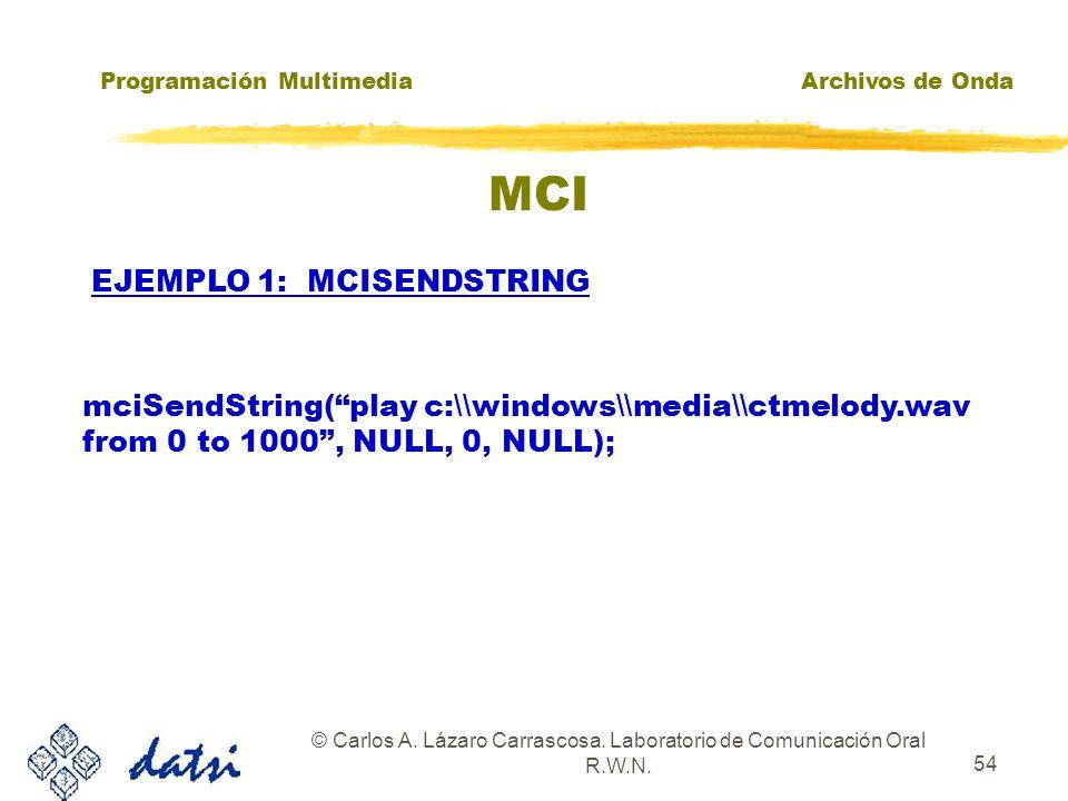 Programación MultimediaArchivos de Onda © Carlos A. Lázaro Carrascosa. Laboratorio de Comunicación Oral R.W.N. 53 MCI zComando= Comando MCI + Id. de D