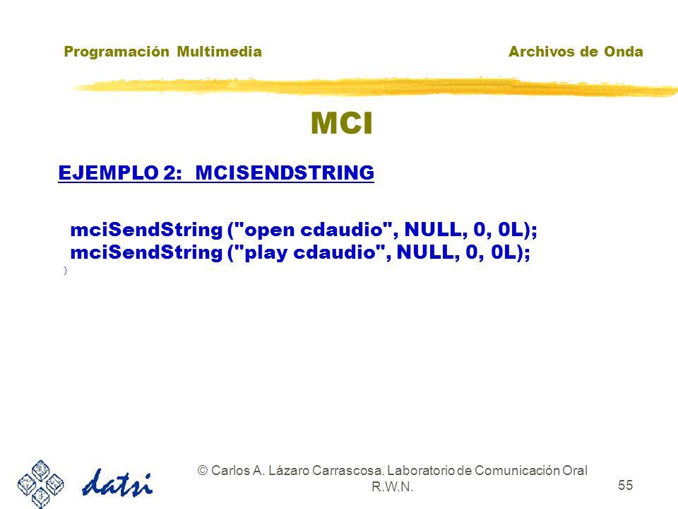 Programación MultimediaArchivos de Onda © Carlos A. Lázaro Carrascosa. Laboratorio de Comunicación Oral R.W.N. 54 MCI mciSendString(play c:\\windows\\