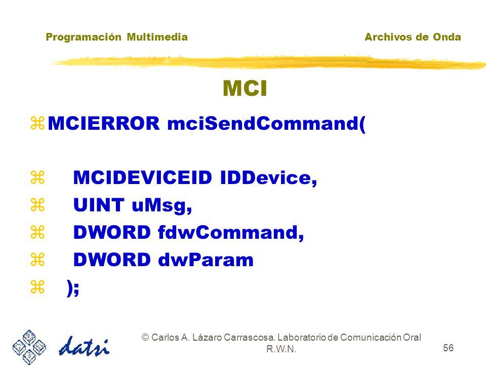 Programación MultimediaArchivos de Onda © Carlos A. Lázaro Carrascosa. Laboratorio de Comunicación Oral R.W.N. 55 MCI EJEMPLO 2: MCISENDSTRING mciSend