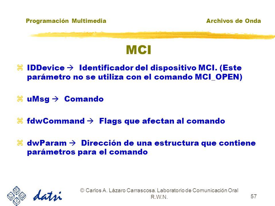 Programación MultimediaArchivos de Onda © Carlos A. Lázaro Carrascosa. Laboratorio de Comunicación Oral R.W.N. 56 MCI zMCIERROR mciSendCommand( z MCID