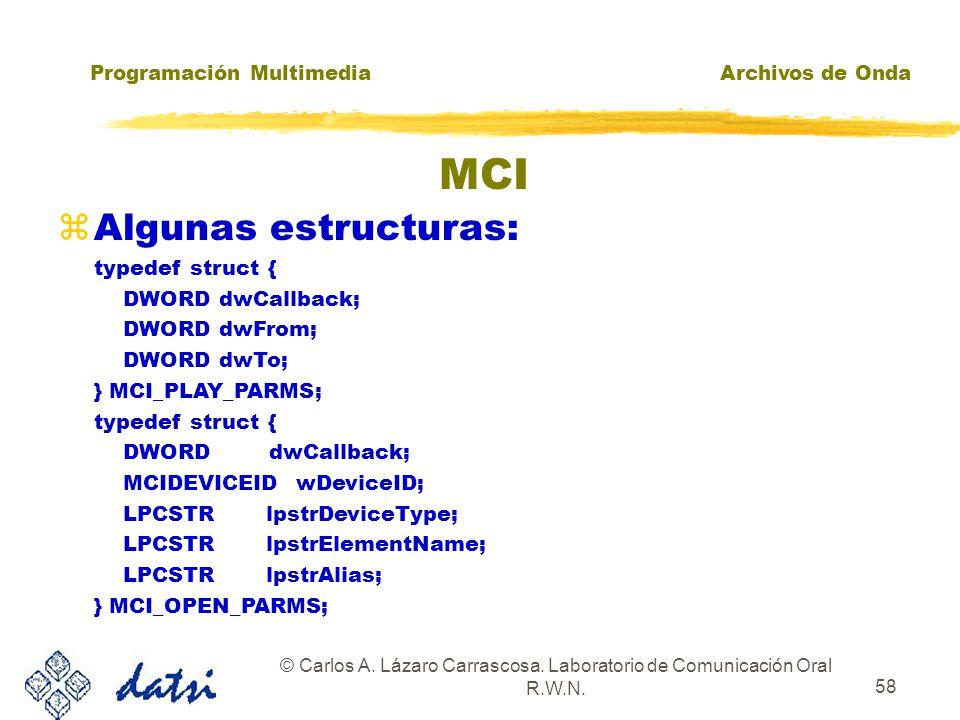 Programación MultimediaArchivos de Onda © Carlos A. Lázaro Carrascosa. Laboratorio de Comunicación Oral R.W.N. 57 MCI zIDDevice Identificador del disp