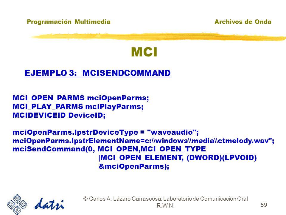 Programación MultimediaArchivos de Onda © Carlos A. Lázaro Carrascosa. Laboratorio de Comunicación Oral R.W.N. 58 MCI zAlgunas estructuras: typedef st
