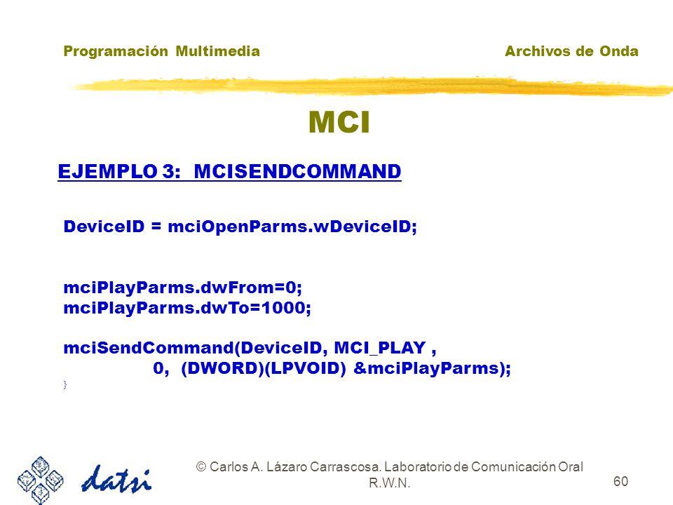 Programación MultimediaArchivos de Onda © Carlos A. Lázaro Carrascosa. Laboratorio de Comunicación Oral R.W.N. 59 MCI EJEMPLO 3: MCISENDCOMMAND MCI_OP