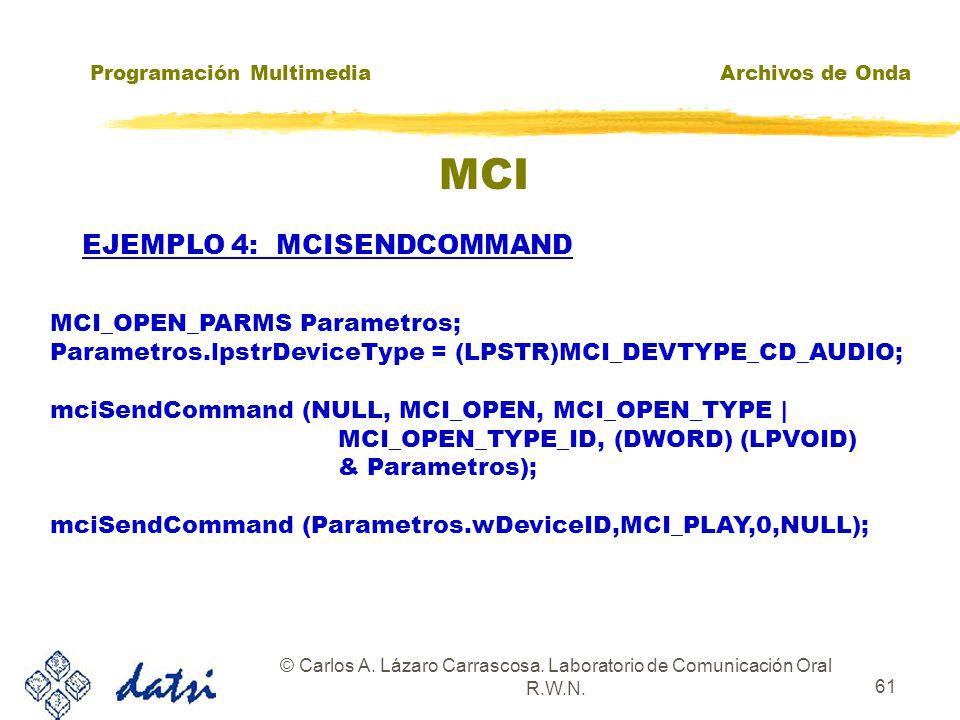 Programación MultimediaArchivos de Onda © Carlos A. Lázaro Carrascosa. Laboratorio de Comunicación Oral R.W.N. 60 MCI EJEMPLO 3: MCISENDCOMMAND Device