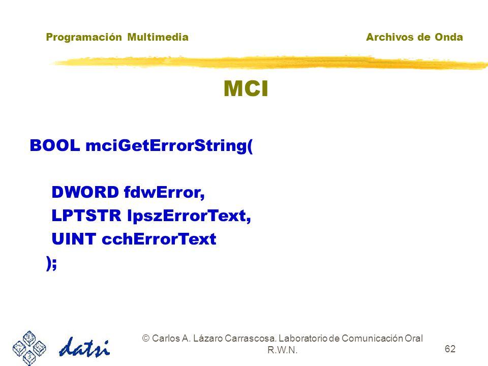 Programación MultimediaArchivos de Onda © Carlos A. Lázaro Carrascosa. Laboratorio de Comunicación Oral R.W.N. 61 MCI EJEMPLO 4: MCISENDCOMMAND MCI_OP