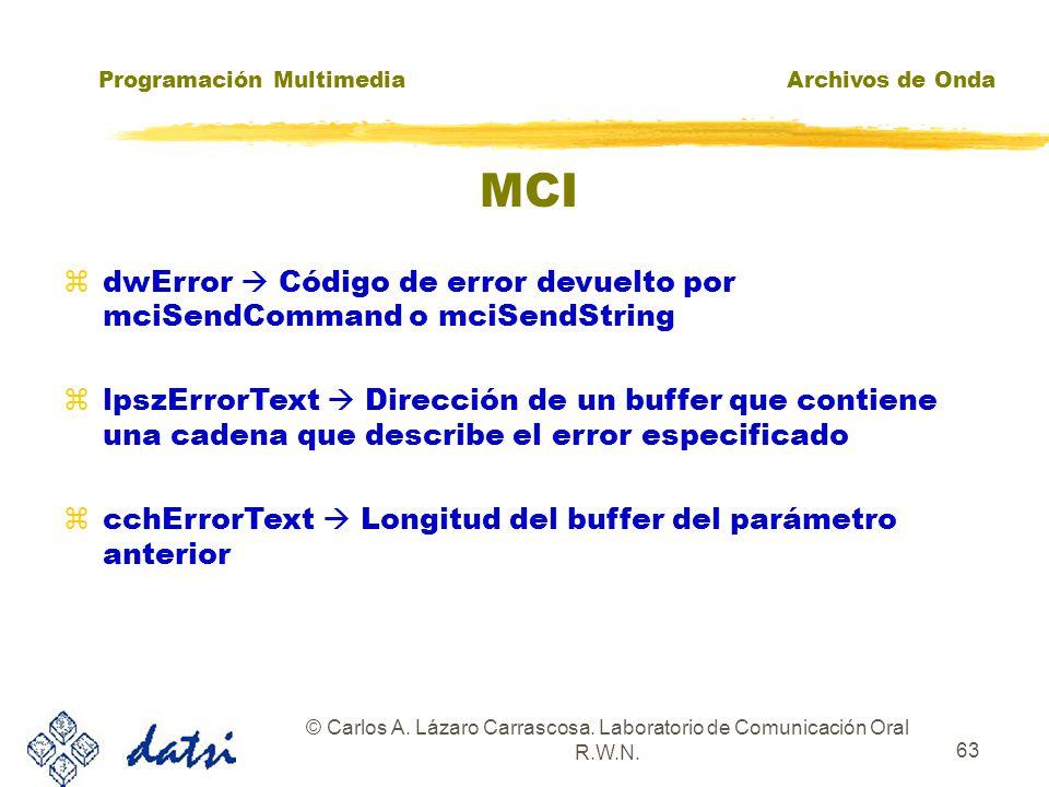 Programación MultimediaArchivos de Onda © Carlos A. Lázaro Carrascosa. Laboratorio de Comunicación Oral R.W.N. 62 MCI BOOL mciGetErrorString( DWORD fd