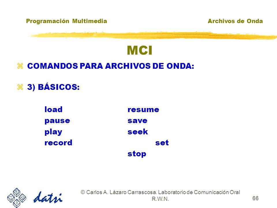 Programación MultimediaArchivos de Onda © Carlos A. Lázaro Carrascosa. Laboratorio de Comunicación Oral R.W.N. 65 MCI zCOMANDOS PARA ARCHIVOS DE ONDA: