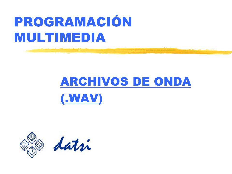 Programación MultimediaArchivos de Onda © Carlos A. Lázaro Carrascosa. Laboratorio de Comunicación Oral R.W.N. 67 MCI zCOMANDOS PARA ARCHIVOS DE ONDA: