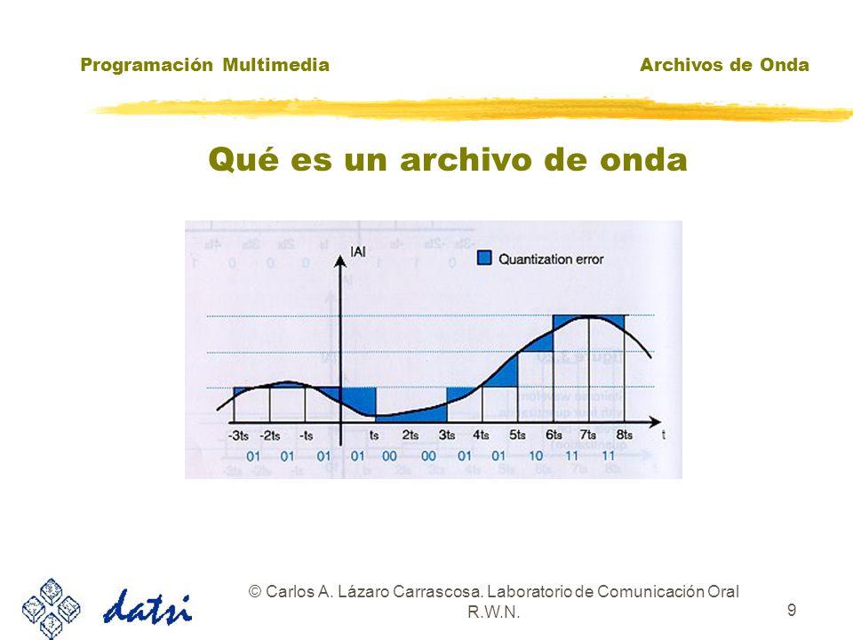 Programación MultimediaArchivos de Onda © Carlos A. Lázaro Carrascosa. Laboratorio de Comunicación Oral R.W.N. 8 Qué es un archivo de onda