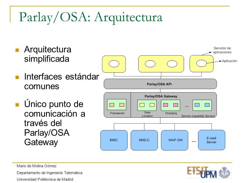 Mario de Molina Gómez Departamento de Ingeniería Telemática Universidad Politécnica de Madrid Parlay/OSA: Arquitectura Arquitectura simplificada Interfaces estándar comunes Único punto de comunicación a través del Parlay/OSA Gateway