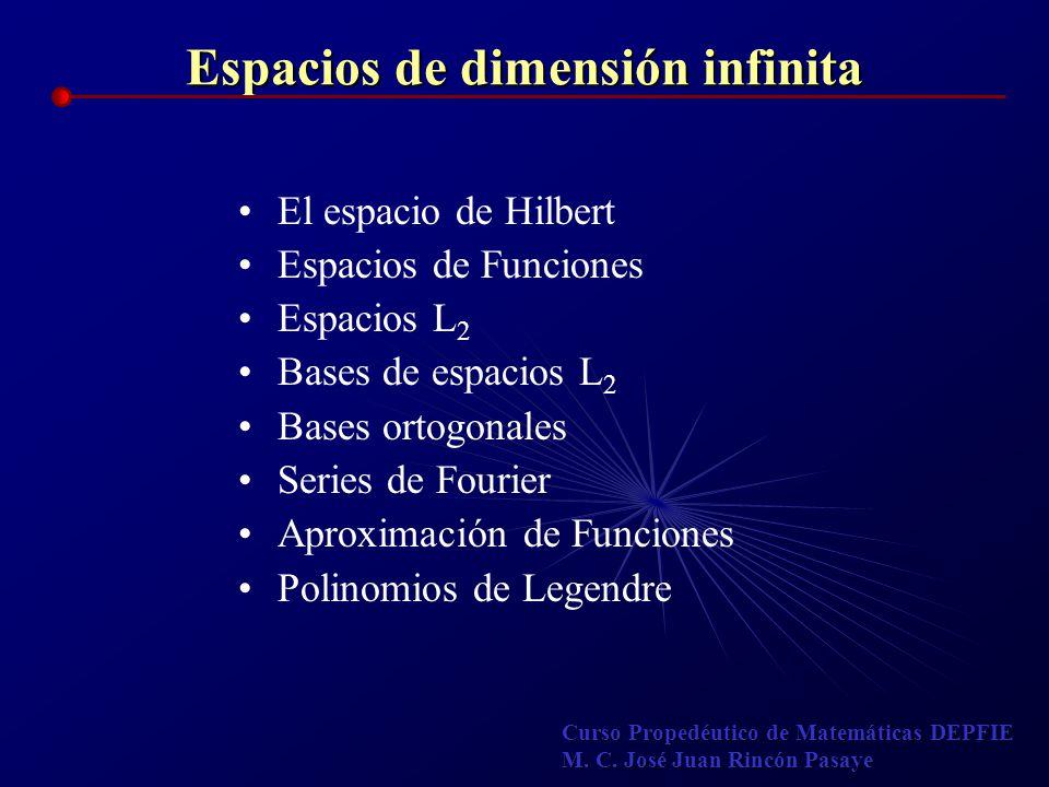 Espacios de dimensión infinita El espacio de Hilbert Espacios de Funciones Espacios L 2 Bases de espacios L 2 Bases ortogonales Series de Fourier Apro