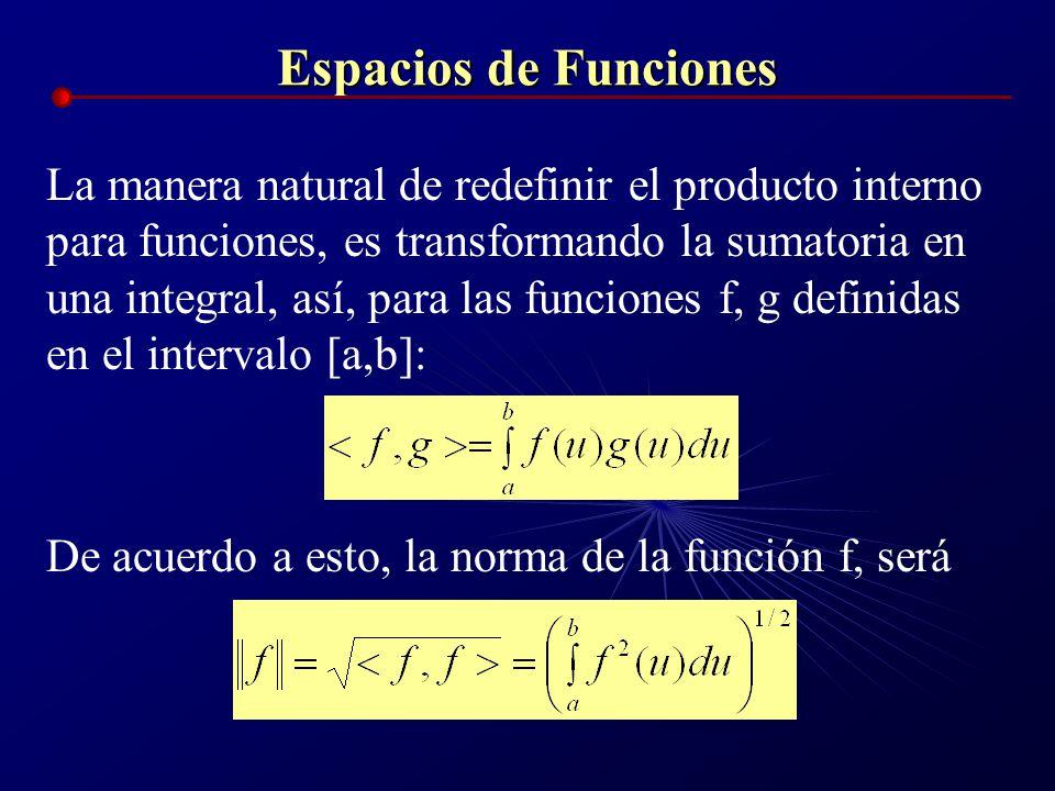 Espacios de Funciones La manera natural de redefinir el producto interno para funciones, es transformando la sumatoria en una integral, así, para las
