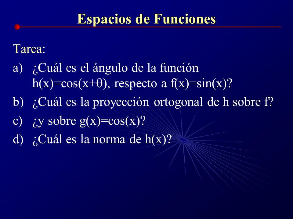 Espacios de Funciones Tarea: a)¿Cuál es el ángulo de la función h(x)=cos(x+ ), respecto a f(x)=sin(x)? b)¿Cuál es la proyección ortogonal de h sobre f