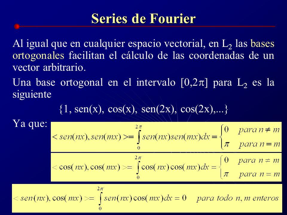 Series de Fourier Al igual que en cualquier espacio vectorial, en L 2 las bases ortogonales facilitan el cálculo de las coordenadas de un vector arbit