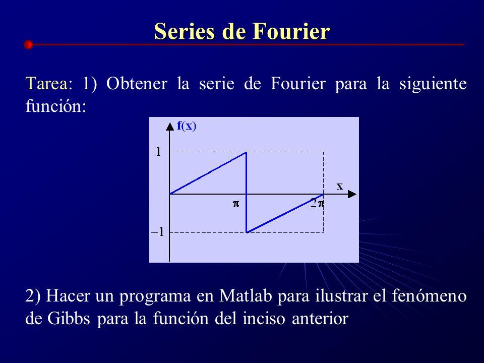 Series de Fourier Tarea: 1) Obtener la serie de Fourier para la siguiente función: 2) Hacer un programa en Matlab para ilustrar el fenómeno de Gibbs p