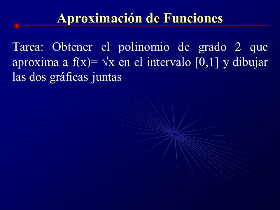 Aproximación de Funciones Tarea: Obtener el polinomio de grado 2 que aproxima a f(x)= x en el intervalo [0,1] y dibujar las dos gráficas juntas
