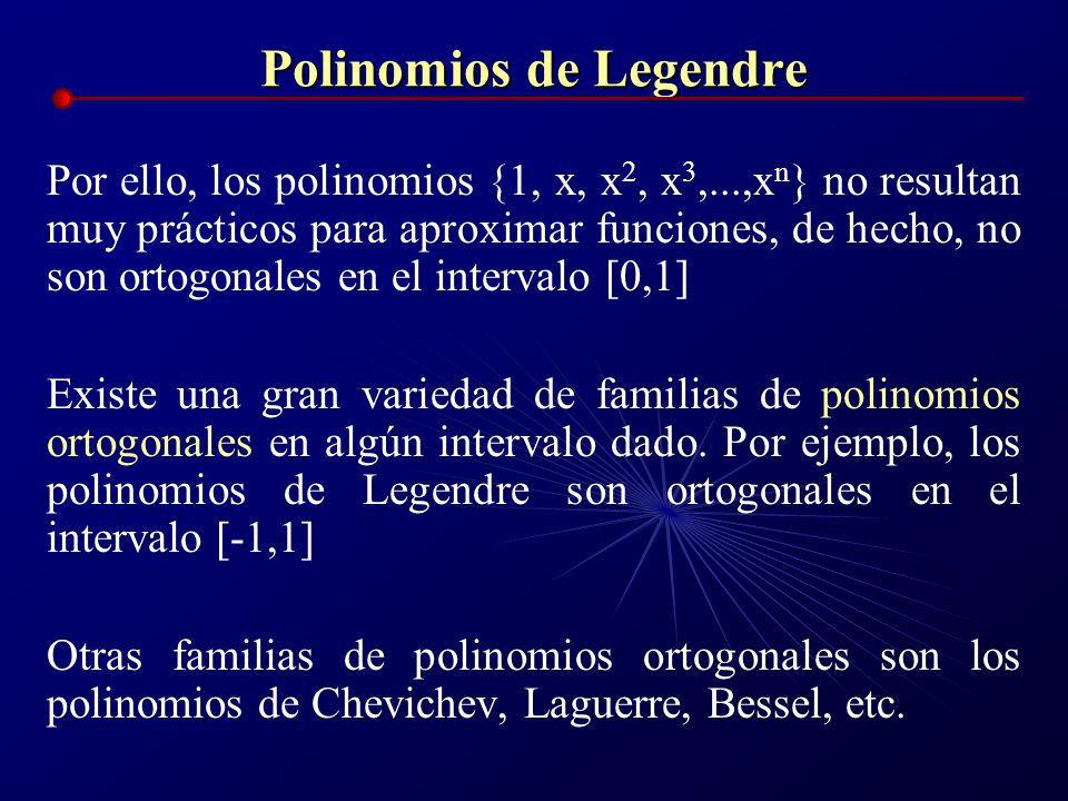 Polinomios de Legendre Por ello, los polinomios {1, x, x 2, x 3,...,x n } no resultan muy prácticos para aproximar funciones, de hecho, no son ortogon