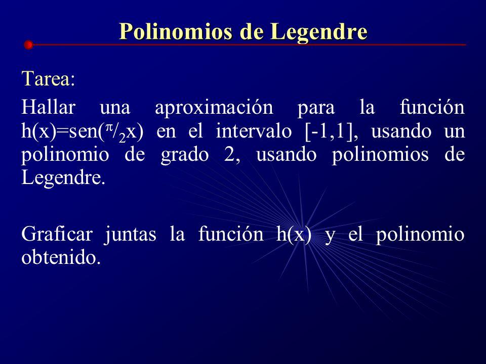 Polinomios de Legendre Tarea: Hallar una aproximación para la función h(x)=sen( x) en el intervalo [-1,1], usando un polinomio de grado 2, usando poli