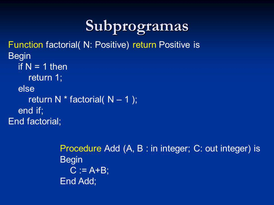 Subprogramas Function factorial( N: Positive) return Positive is Begin if N = 1 then return 1; else return N * factorial( N – 1 ); end if; End factorial; Procedure Add (A, B : in integer; C: out integer) is Begin C := A+B; End Add;