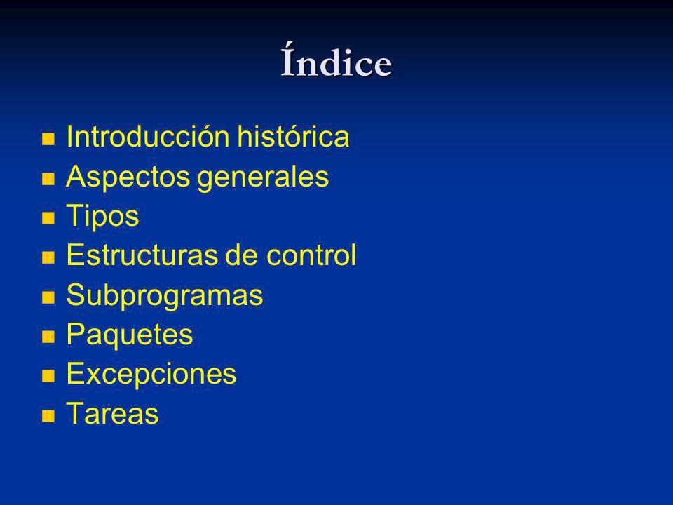 Índice Introducción histórica Aspectos generales Tipos Estructuras de control Subprogramas Paquetes Excepciones Tareas
