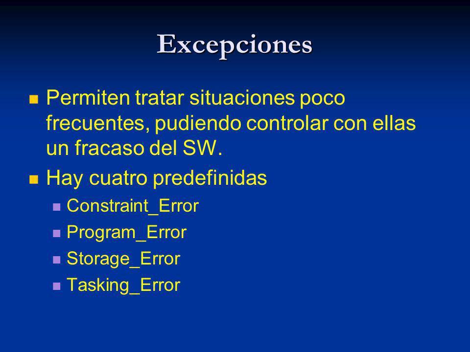 Excepciones Permiten tratar situaciones poco frecuentes, pudiendo controlar con ellas un fracaso del SW. Hay cuatro predefinidas Constraint_Error Prog