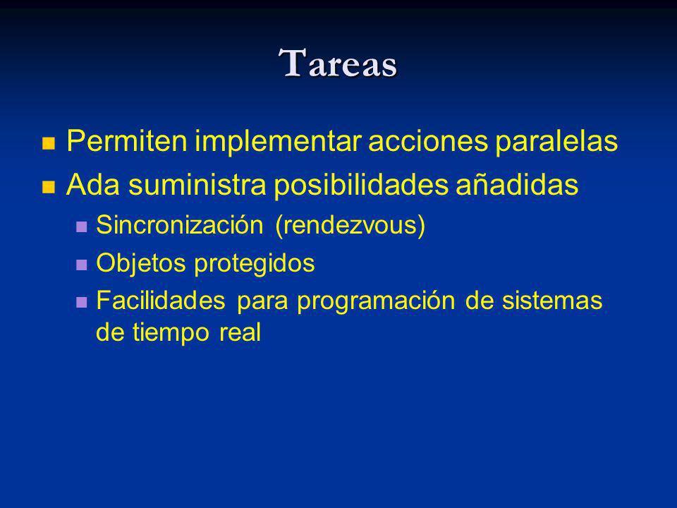 Tareas Permiten implementar acciones paralelas Ada suministra posibilidades añadidas Sincronización (rendezvous) Objetos protegidos Facilidades para p