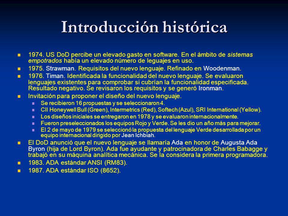 Introducción histórica 1974. US DoD percibe un elevado gasto en software. En el ámbito de sistemas empotrados había un elevado número de leguajes en u
