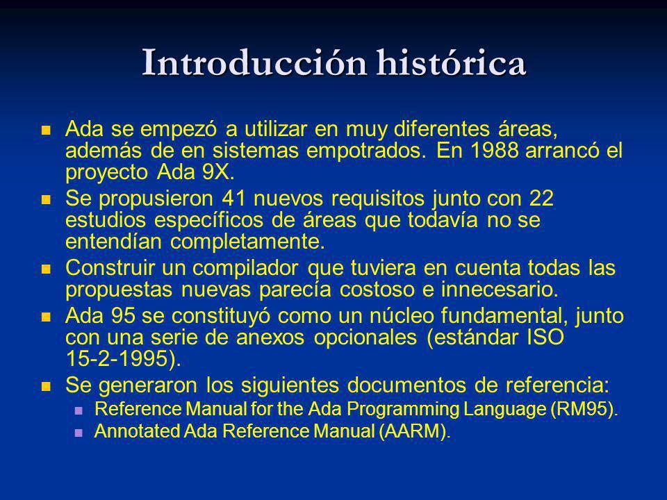 Introducción histórica Ada se empezó a utilizar en muy diferentes áreas, además de en sistemas empotrados. En 1988 arrancó el proyecto Ada 9X. Se prop
