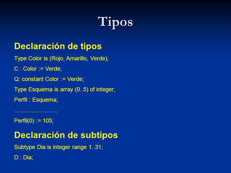 Tipos Tipos numéricos simples P: Integer; Q : Float; Atributos Subtype Natural is integer range 0..IntegerLast; Subtype Positive is integer range 1..IntegerLast; Cambio de tipo I: Integer := 3; F: Float := 5.6; …… I := Integer( F ) + I; F := F + Float( I );