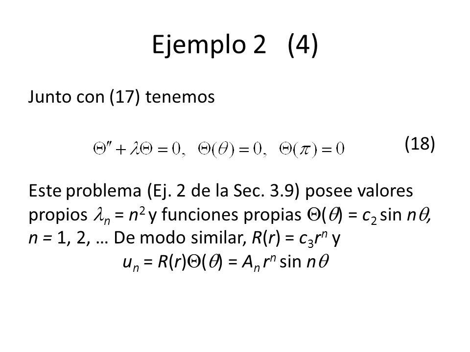 Ejemplo 2 (4) Junto con (17) tenemos (18) Este problema (Ej. 2 de la Sec. 3.9) posee valores propios n = n 2 y funciones propias ( ) = c 2 sin n, n =
