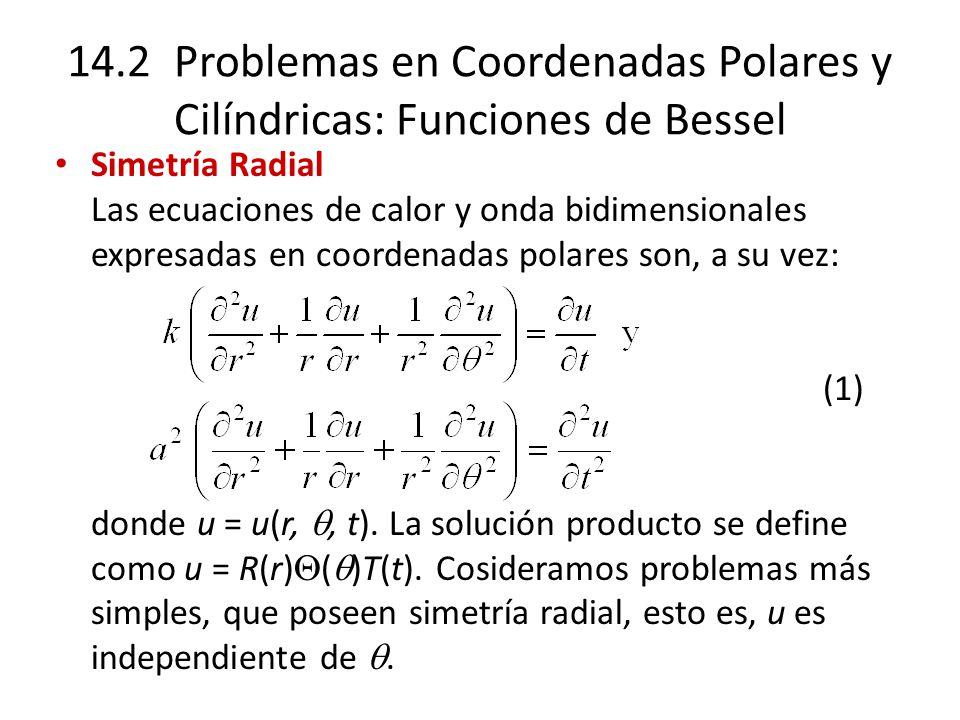 14.2 Problemas en Coordenadas Polares y Cilíndricas: Funciones de Bessel Simetría Radial Las ecuaciones de calor y onda bidimensionales expresadas en