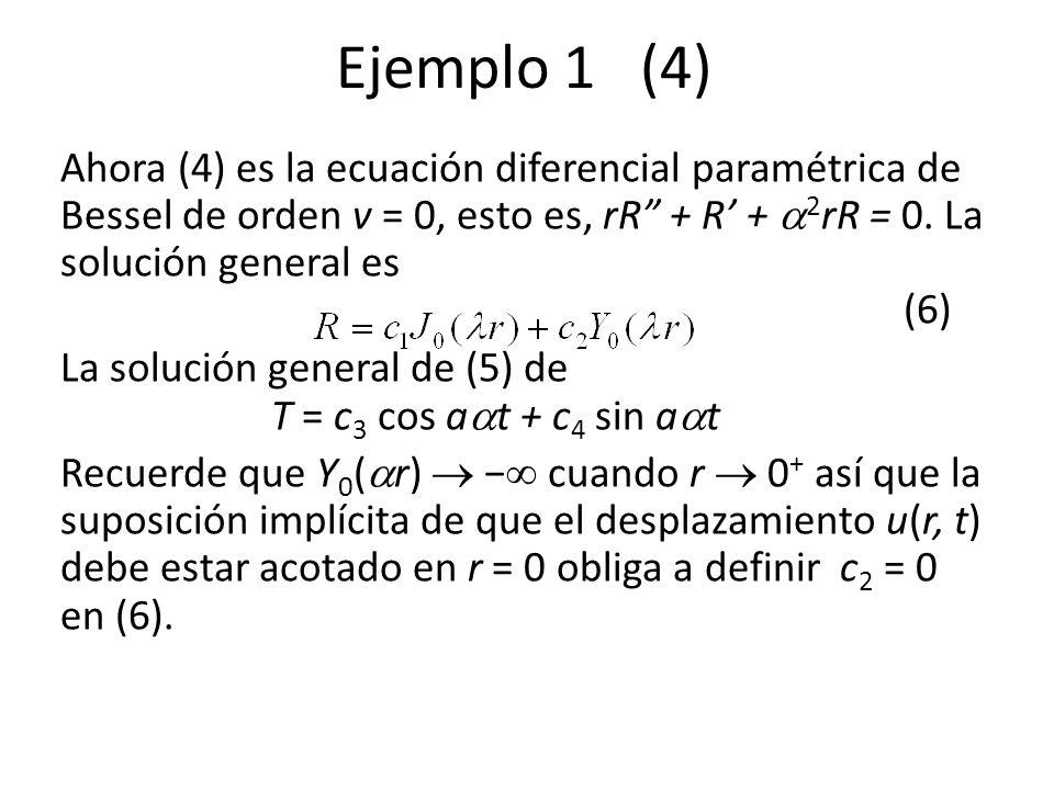 Ejemplo 1 (4) Ahora (4) es la ecuación diferencial paramétrica de Bessel de orden v = 0, esto es, rR + R + 2 rR = 0. La solución general es (6) La sol