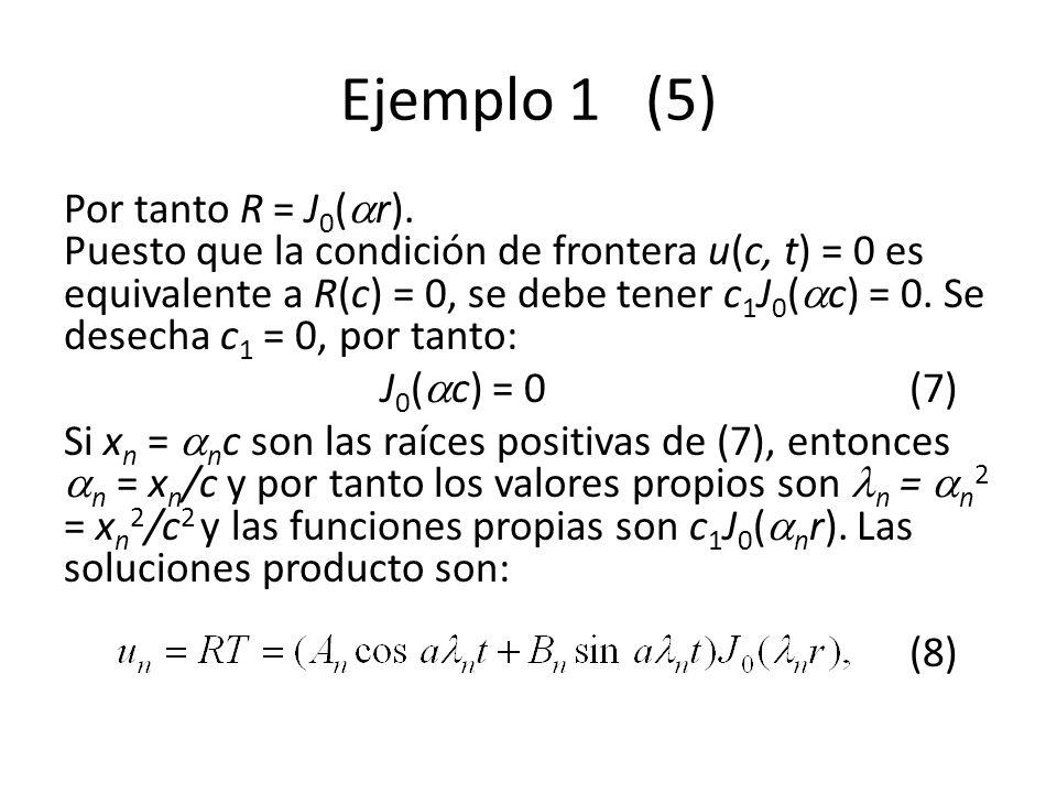 Ejemplo 1 (5) Por tanto R = J 0 ( r). Puesto que la condición de frontera u(c, t) = 0 es equivalente a R(c) = 0, se debe tener c 1 J 0 ( c) = 0. Se de