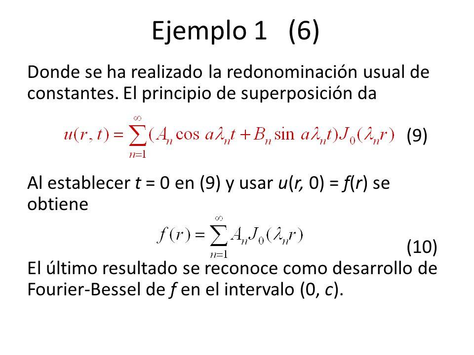 Ejemplo 1 (6) Donde se ha realizado la redonominación usual de constantes. El principio de superposición da (9) Al establecer t = 0 en (9) y usar u(r,