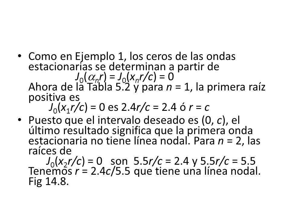Como en Ejemplo 1, los ceros de las ondas estacionarias se determinan a partir de J 0 ( n r) = J 0 (x n r/c) = 0 Ahora de la Tabla 5.2 y para n = 1, l