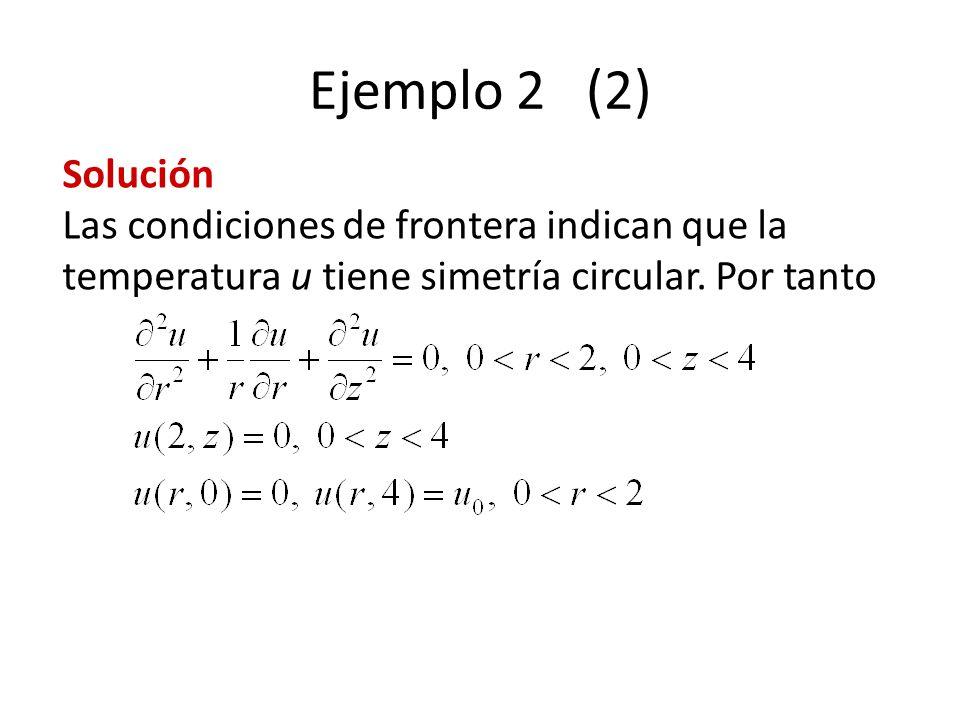 Ejemplo 2 (2) Solución Las condiciones de frontera indican que la temperatura u tiene simetría circular. Por tanto