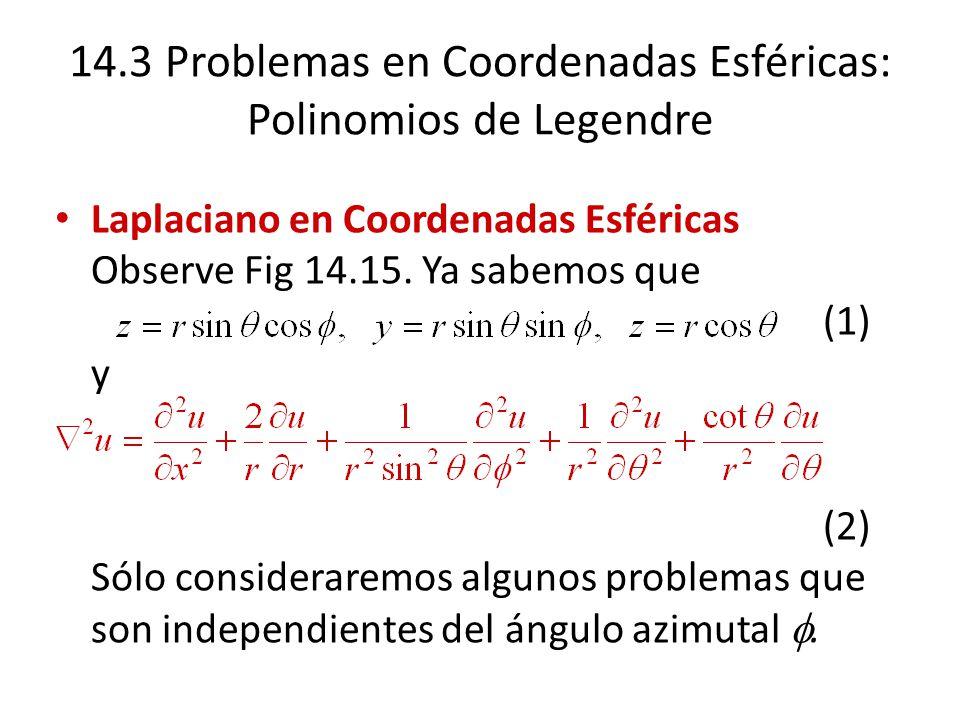 14.3 Problemas en Coordenadas Esféricas: Polinomios de Legendre Laplaciano en Coordenadas Esféricas Observe Fig 14.15. Ya sabemos que (1) y (2) Sólo c