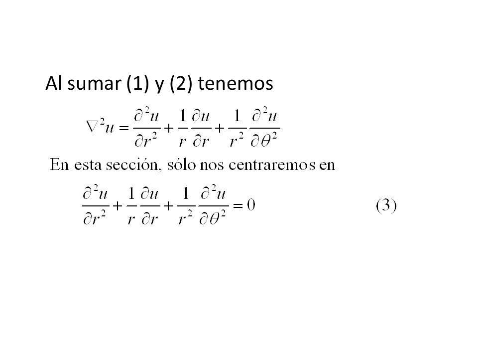 Ejemplo 1 Resuelva la ecuación de Laplace (3) sujeta a u(c, ) = f( ), 0 < < 2.