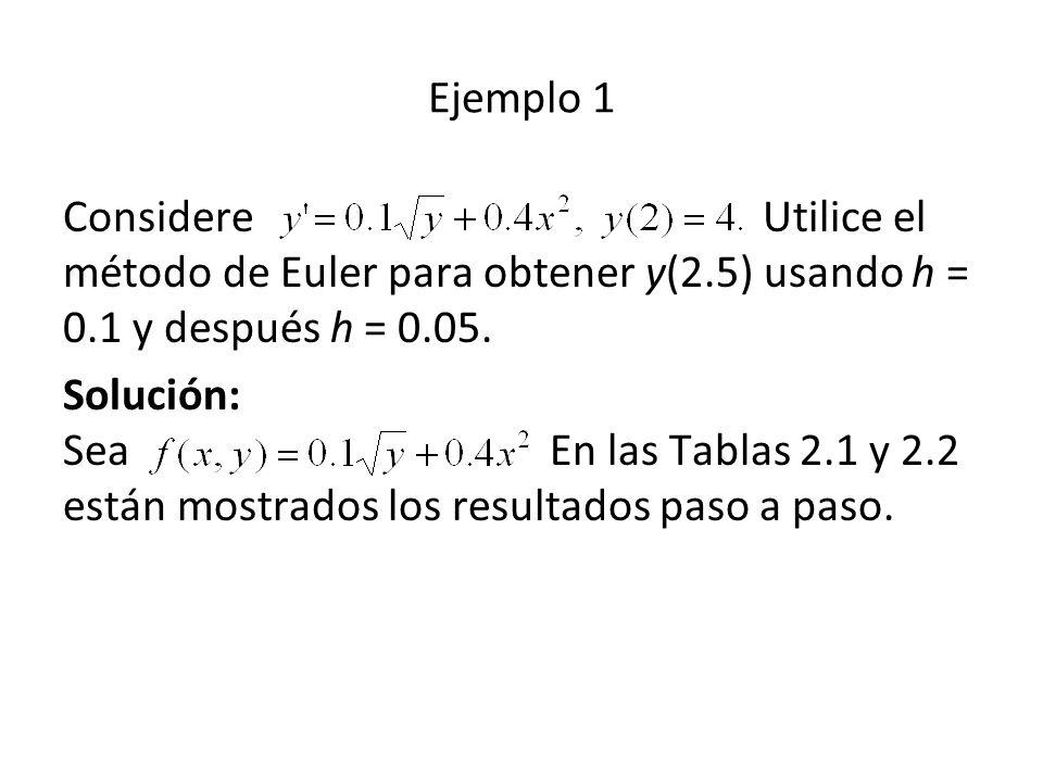 Ejemplo 1 Considere Utilice el método de Euler para obtener y(2.5) usando h = 0.1 y después h = 0.05. Solución: Sea En las Tablas 2.1 y 2.2 están most