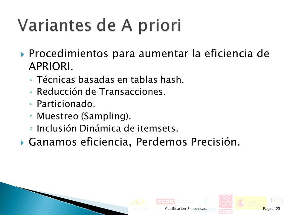 Procedimientos para aumentar la eficiencia de APRIORI. Técnicas basadas en tablas hash. Reducción de Transacciones. Particionado. Muestreo (Sampling).