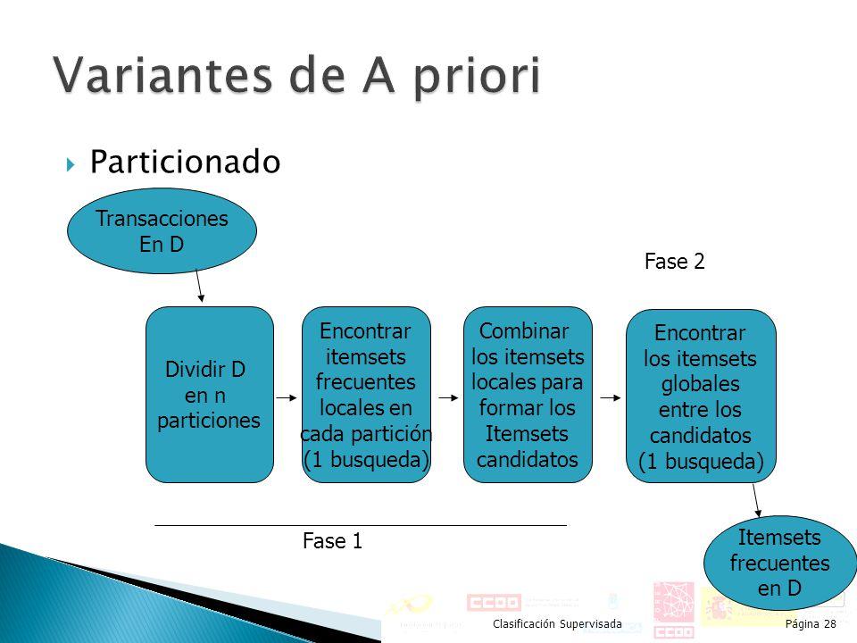 Particionado Clasificación SupervisadaPágina 28 Dividir D en n particiones Encontrar itemsets frecuentes locales en cada partición (1 busqueda) Combin
