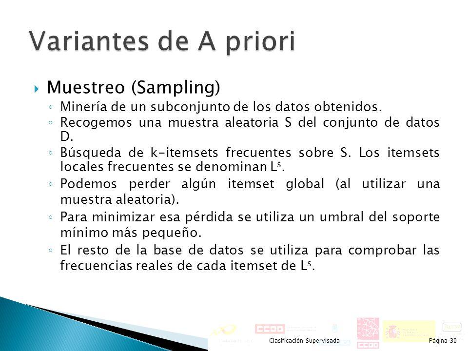 Muestreo (Sampling) Minería de un subconjunto de los datos obtenidos. Recogemos una muestra aleatoria S del conjunto de datos D. Búsqueda de k-itemset