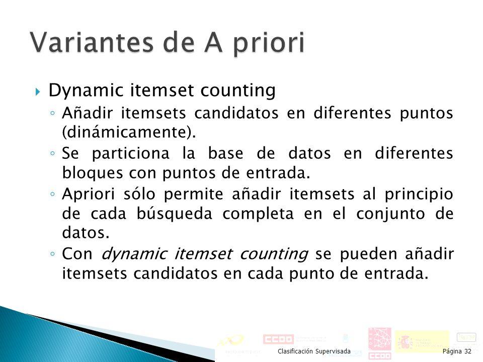 Dynamic itemset counting Añadir itemsets candidatos en diferentes puntos (dinámicamente). Se particiona la base de datos en diferentes bloques con pun